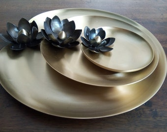 Lotus Leaf brass tray set