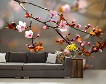 flower wallpaper, flower wall mural, big flower wall decal, big flower wall mural, nature wallpaper, self wall mural, branch wallpaper