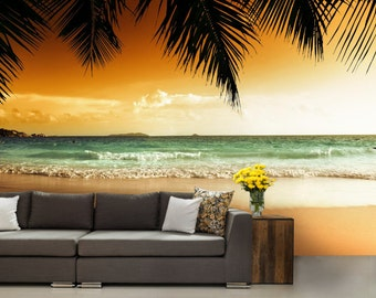 Sea wallpaper, tropical beach wallpaper, sea wall mural, beach wallpaper, self-adhesiv, sea wallpaper, sun wallpaper, sunset beach wallpaper