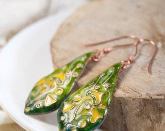 Glass enamel, Handmade Drop Earrings, Yellow toadstools on green, Dangle Earrings