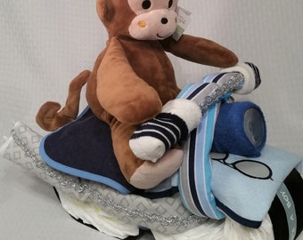 Blue Baby Diaper Motorcycle, GIft for Baby Shower Airplanes with Monkey