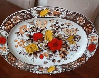 Retro Vintage 1960s Asake Yokkaichi Ceramic platter Kitsch Japan kitchenalia