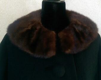 Vintage Black Wool Coat La Blau Sz. 6-8 Mink Collar Large Buttons 1960's Women's
