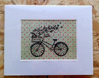Bicycle - linocut