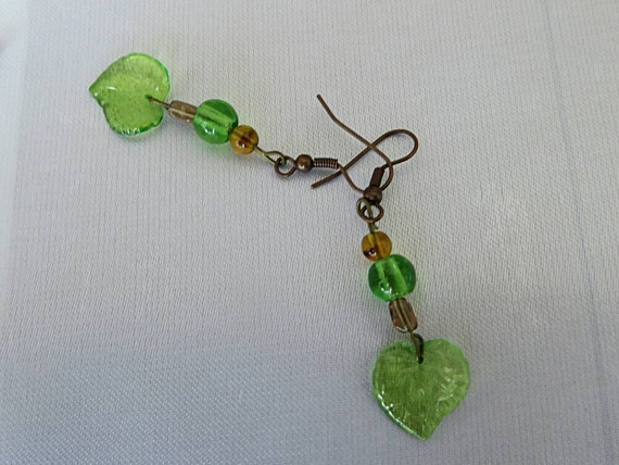Earrings green leaves and green and beige-brown glass beads