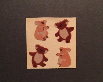 Sandylion vintage 1986 very rare fuzzy brown back koala stickers