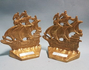 Vintage Brass Galleon Ship Bookends, Galleon In the Time of Elizabeth