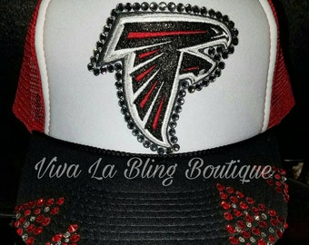 One of A Kind Atlanta FALCONS Bling Hat, Glitter Detailing- Embroidered Patch