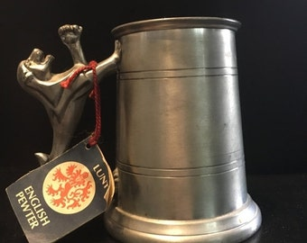ON SALE Lunt Silversmiths Exclusive English Pewter Beer Stein w/ Lion Handle