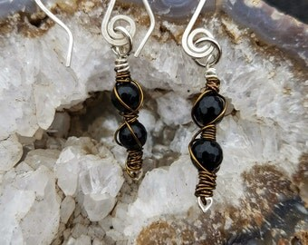 Black Onyx Gemstone Wrapped Earrings, Black Onyx Gemstone, Sterling Silver Ear Wire