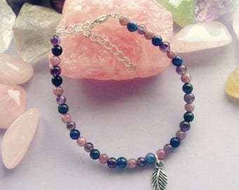 Anxiety, Emotional Stress, Panic attacks Healing Bracelet, Reiki Infused. Lepidolite, Sodalite and Amethyst with charm.