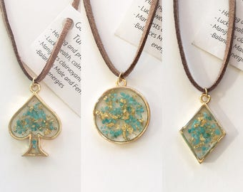Turquoise and Gold Leaf Resin Pendants