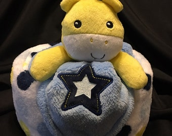 Giraffe Diaper Cake Gift With Plush Baby Blanket And A Security Blanket