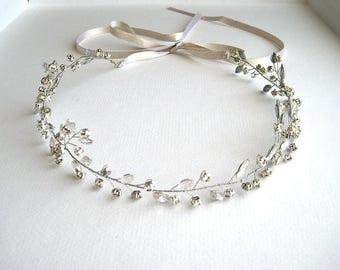 Bridal silver hair band - Heather