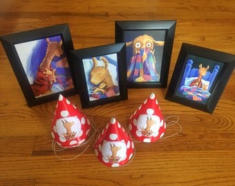 Llama Llama Red Pajama Birthday Party Decorations Framed Prints Party Hats