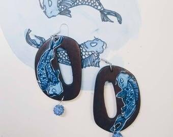 Blue happiness koi fish wood art earrings