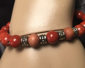 Red jasper, sandalwood, carnelian bracelet: Yoga jewelry, Root Chakra healing, meditation, Reiki, beaded bracelet.