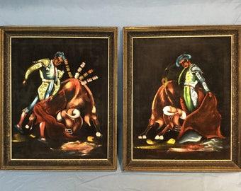 Vintage Matador and Bull Oil Painting on Black Velvet