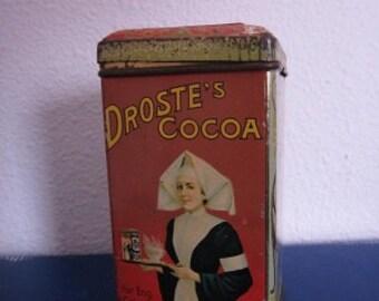 Vintage tin Netherlands DROSTE cocoa 1/4 kg hinged lid
