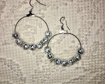 Beaded Marble Earrings