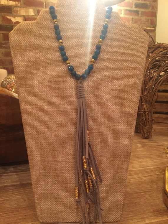 Blue agate beads with grey tassel