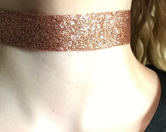 Copper glitter choker