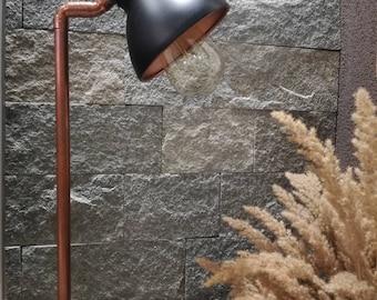 Industrial table lamp,Copper lamp,Wood lamp,Wood office lamp,Rustic copper table lamp,Desk lamp