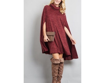 Burgundy sweater dress, cape sweater dress, cape mini dress, turtleneck dress, turtleneck  sweater, sleeveless dress, cape dress