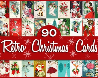 "90 Retro Vintage Christmas Card Fronts / Each Card 10"" Long or Wide / INSTANT DIGITAL DOWNLOAD / Tags: Clipart Clip Art Navidad Noel Santa"