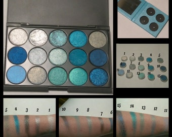 Pressed Eyeshadow 15 Color Palette/Individual 26mm Round Pans/4 Color Palette With Mirror/The Blues Collection/Vegan/Cruelty Free