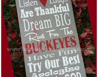 In this house we cheer-root for verse hand painted wooden wall sign, Perfect for OSU, Ohio State, Buckeyes fans-decor