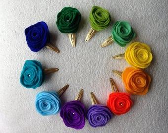 Felt rose hair clips