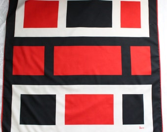 Vera Neumann Large Square Color Block Geometric Scarf in Red, Black, and White