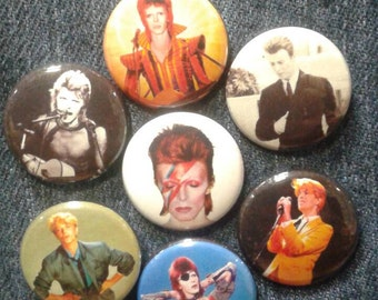 "David Bowie button set 1"" pinback Ziggy Stardust Thin White Duke"