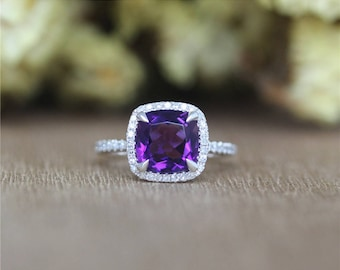 Favored 8mm Cushion Amethyst Ring in 14K White Gold,Half Eternity Diamonds/Wedding&Engagement Ring/Promise Ring/Anniversary Ring