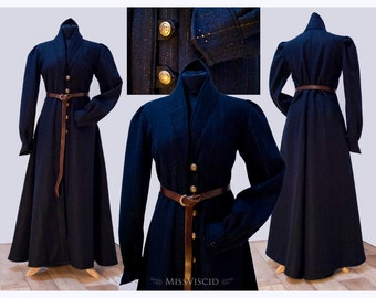 Mage robe coat LARP costume coat raiment robe coat wizard sorceress for women gold-blue