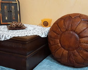 Moroccan leather pouf  handmade leather pouf pouff ottoman unstuffed