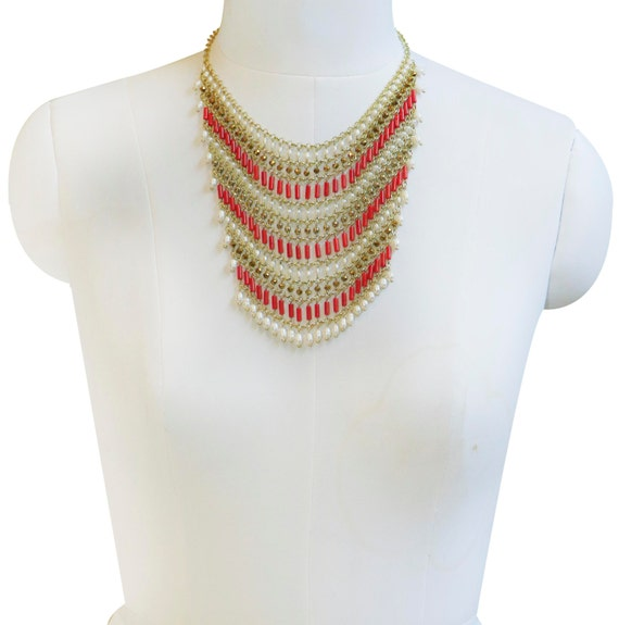 Red Gold Beaded Woven choker collar necklace