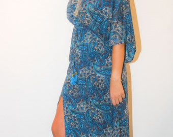 Rayon dress with front opening. Dress blue, silky long sundress dress, boho, hippy chic