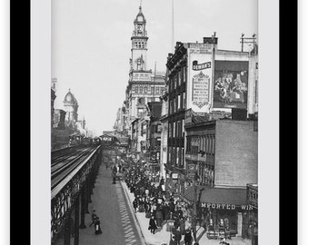 Old New York City Photo, NYC Sixth Avenue, Print, Rail, Victorian, Photography, Old Pictures, Immigration, Gotham, NYC Wall Art, Home Decor,