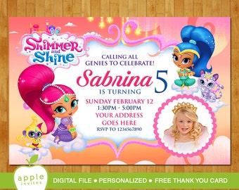 Shimmer And Shine Invitation Etsy