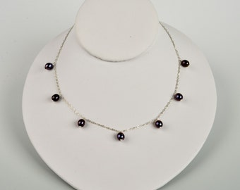7-8 mm Black Pearl Sterling Silver Tin Cup Necklace