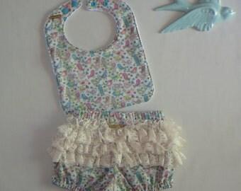 Bluebird Birdcage Lace Bloomer and Bib Set, 'Giddy Magee' Girls Size Newborn - 3 Months, Designer, Handmade, One Off