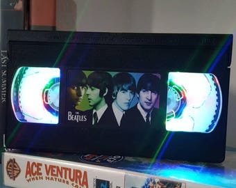 Retro VHS Beatles Night Light Table Lamp. Order any film, movie, series, or actor! Great personal gift. Man Cave.