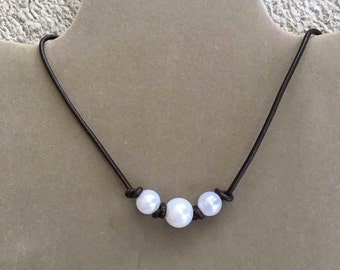 Triple Knotted Pearl Necklace