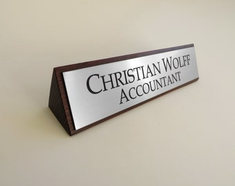 Executive Personalised Desk Name Plate, Custom Engraved Sign, Plaque, Office, Palisander Stain Finishing