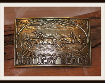 Vintage Bergamot Brass Metal Kentucky Derby Belt Buckle, Kentucky Derby Horse Racing Buckle, Horses, Louisville Kentucky, Churchill Downs
