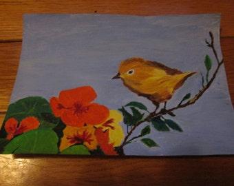 Warbler with Nasturtiums, greeting card
