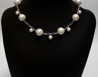 Bridal Necklace, Wedding Pearl Necklace, Chain Necklace. CHARLOTTE.