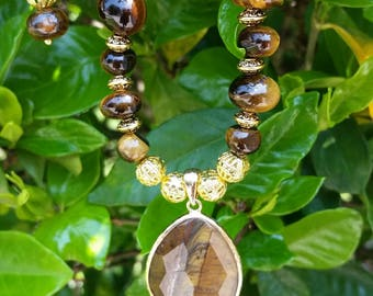 Tiger eye nugget bead necklace set.